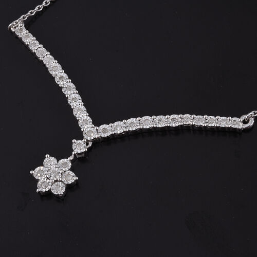 Diamond (Rnd) Necklace (Size 18) in Platinum Overlay Sterling Silver 0.335 Ct.