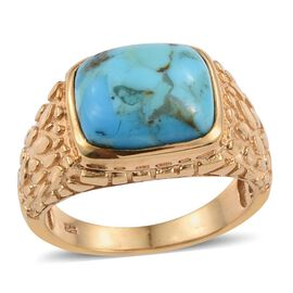 Arizona Matrix Turquoise (Cush) Solitaire Ring in 14K Gold Overlay Sterling Silver 4.500 Ct. Silver wt 5.80 Gms.