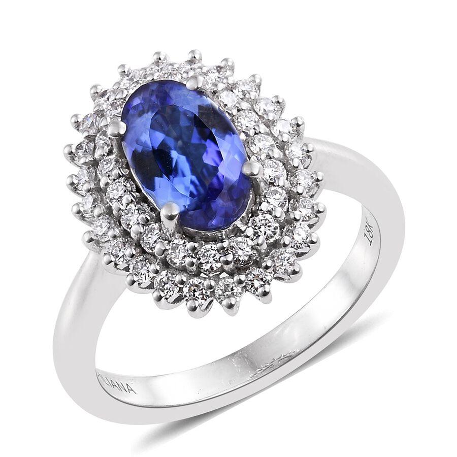 Carat Tanzanite: ILIANA 18K White Gold 2 Carat AAA Tanzanite Ring With Two
