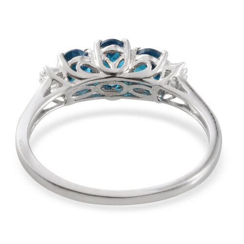Malgache Neon Apatite (Ovl 0.50 Ct), Diamond Ring in Platinum Overlay Sterling Silver 1.320 Ct.