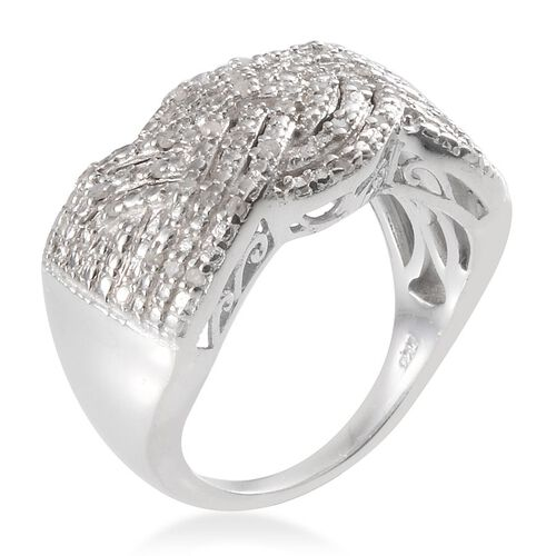 Diamond (Rnd) Cluster Ring in Platinum Overlay Sterling Silver 0.250 Ct.