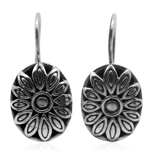 Royal Bali Collection Sterling Silver Floral Hook Earrings, Silver wt 5.10 Gms.