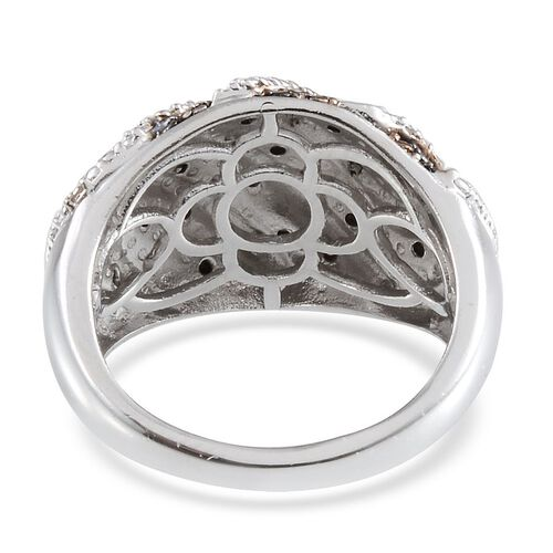 Black Diamond (Rnd), Diamond Ring in Platinum Overlay Sterling Silver 0.330 Ct.