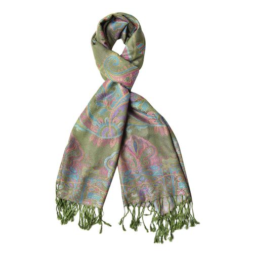 Olive Green, Pink and Multi Colour Paisley Pattern Scarf with Tassels (Size 180X68 Cm)