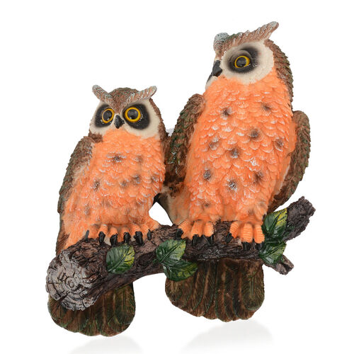 Home Decor - Orange and Brown Colour Two Owl On Tree Branch Wall Hanging with Resin