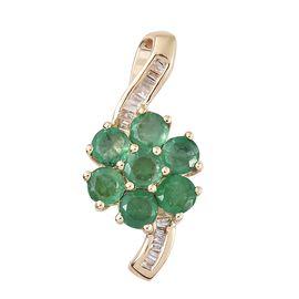Designer Inspired-  9K Yellow Gold AA Kagem Zambian Emerald (Rnd), Diamond Flower Pendant 1.250 Ct.