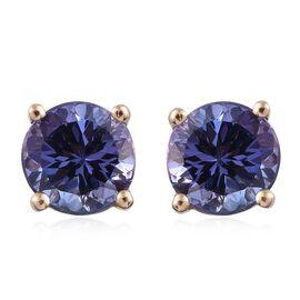14K Y Gold AA Tanzanite (Rnd) Stud Earrings (with Push Back) 1.750 Ct.