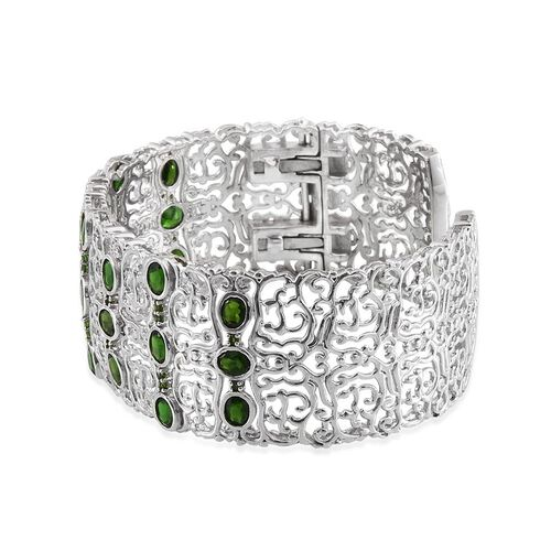 Russian Diopside (Ovl) Cuff Bangle (Size 7.5) in Platinum Overlay Sterling Silver 8.750 Ct.