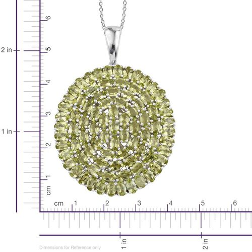 AA Hebei Peridot (Ovl) Cluster Pendant With Chain in Platinum Overlay Sterling Silver 20.000 Ct.