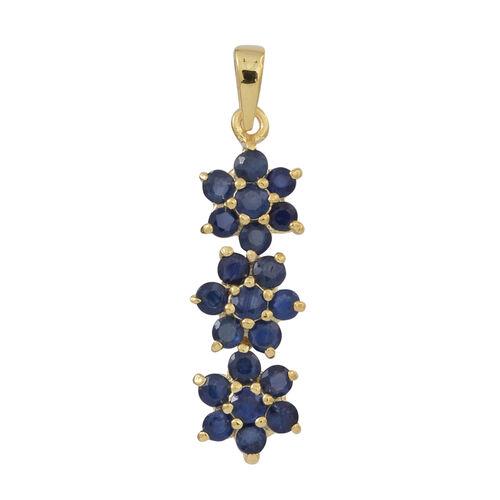 Kanchanaburi Blue Sapphire (Rnd) Triple Floral Pendant in 14K Gold Overlay Sterling Silver 2.000 Ct.