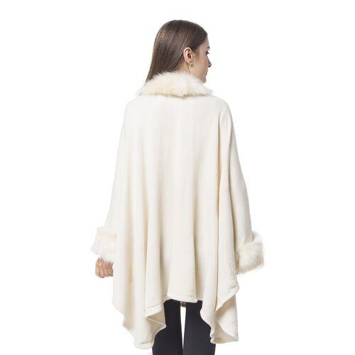 Cream Colour Cape with Faux Fur Edge (Free Size)