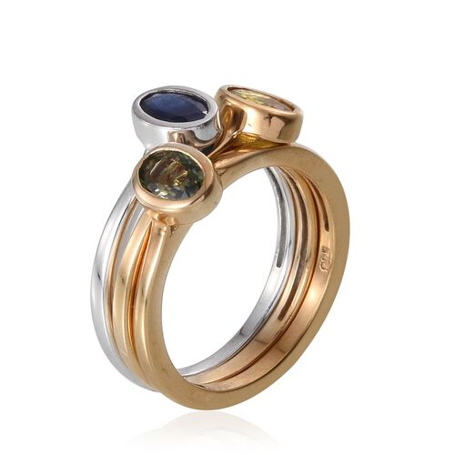 Green Sapphire (Ovl), Kanchanaburi Blue Sapphire and Yellow Sapphire 3 Ring Set in Platinum and 14K Gold Overlay Sterling Silver 1.500 Ct.
