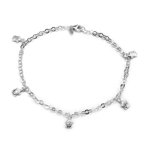 Close Out Deal Sterling Silver Bracelet with Tortoise Charm, Silver wt 4.10 Gms.