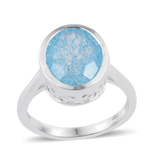 Blue Crackled Quartz (Ovl) Solitaire Ring in Sterling Silver 3.000 Ct.
