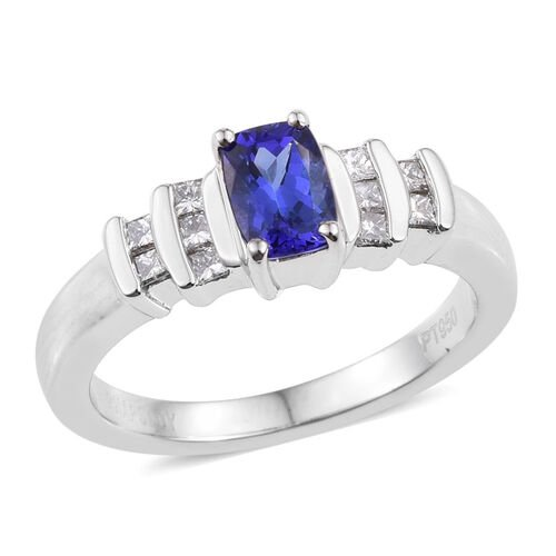 RHAPSODY 950 Platinum 1 Carat AAAA Tanzanite Cushion, Diamond Ring VS E-F.