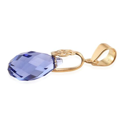 J Francis Crystal from Swarovski - Tanzanite Colour Crystal Drop Pendant in Yellow Gold Overlay Sterling Silver