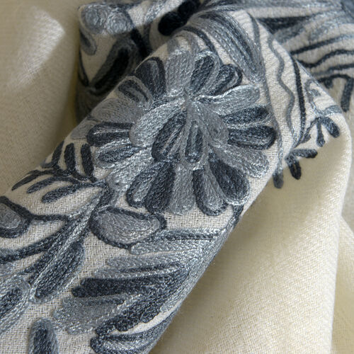 100% Merino Wool Grey and Cream Colour Embroidered Scarf with Fringes (Size 200x70 Cm)