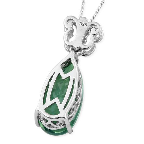 Peacock Quartz (Pear) Pendant with Chain in Platinum Overlay Sterling Silver 5.000 Ct.