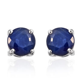 RHAPSODY 950 Platinum 1.40 Carat AAAA Blue Sapphire Solitaire Stud Earrings (with Screw Back)