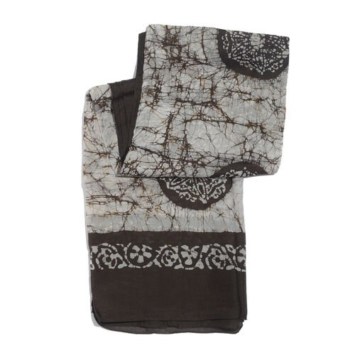 100% Mulberry Silk Silver and Chocolate Colour Printed Scarf (Size 180x100 Cm)