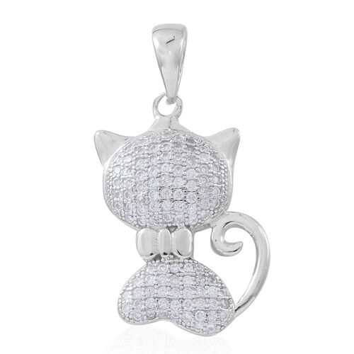 Set of 2 - ELANZA AAA Simulated White Diamond (Rnd) Cat and Skull Pendant in Rhodium Plated Sterling Silver