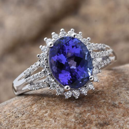 ILIANA 18K W Gold AAA Tanzanite (Ovl 2.75 Ct), Diamond (SI/G-H) Ring 3.050 Ct.