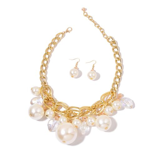Simulated White Pearl, Simulated White and Champagne Diamond Necklace (Size 18 with 3 inch Extender) and Hook Earrings in Yellow Gold Tone with Stainless Steel