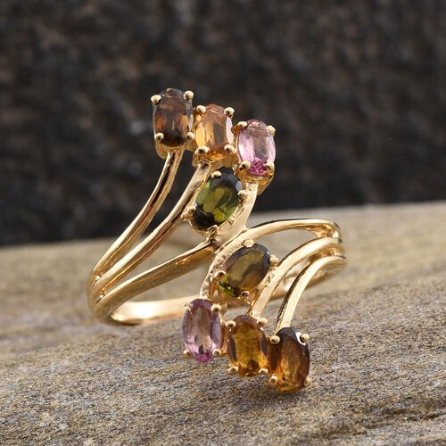 Rainbow Tourmaline (Ovl) Crossover Ring in 14K Gold Overlay Sterling Silver 1.750 Ct.