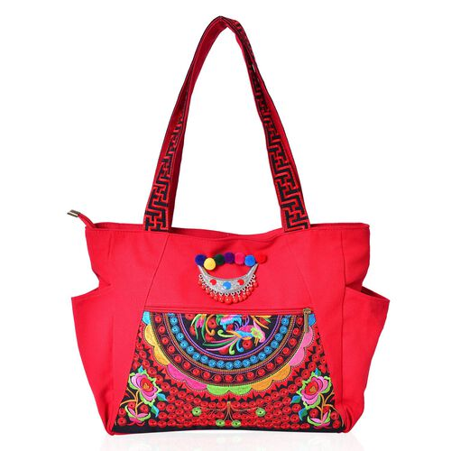 Designer Inspired - Shanghai Collection Floral Embroidered Tote Bag with Metallic Charm (Size 30.5X27X10 Cm)