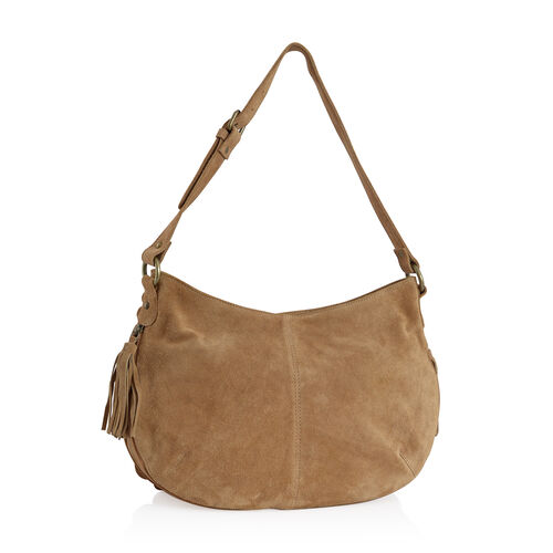 Genuine Leather Tan Scalloped Bag with Adjustable Shoulder Strap (Size 42x24 Cm)