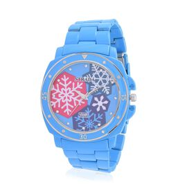 STRADA Japanese Movement White Austrian Crystal Studded Blue Snowflake Dial Water Resistant Watch in Silver Tone with Stainless Steel Back and Blue Strap