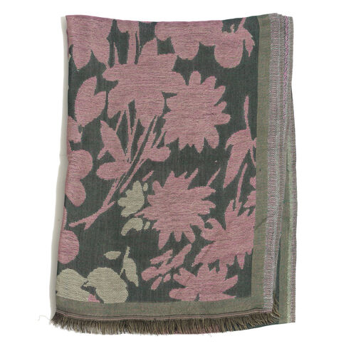 Pink and Multi Colour Flowers Pattern Green Colour Scarf (Size 180x65 Cm)