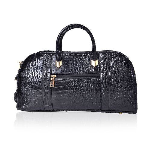 Black Colour Croc Embossed Tote Bag with External Zipper Pocket and Adjustable and Removable Shoulder Strap (Size 40.5X21.5X15 Cm)