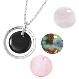 Black Agate, Abalone Shell, Pink Shell and White Shell Pendant With Chain (Size 24) with Interchangeable Charms in Stainless Steel 54.000 Ct.