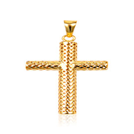 Designer Inspired Italian 9K Y Gold Cross Pendant