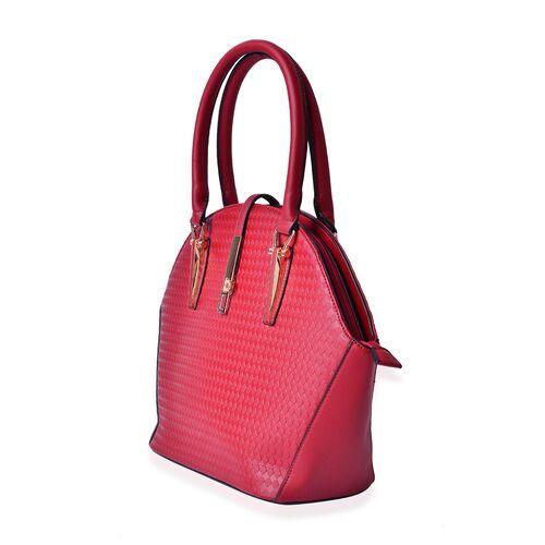 Diamond Pattern Red Colour Tote Bag (Size 39x29.5x14 Cm)