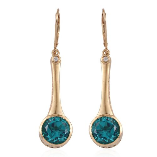 Capri Blue Quartz (Rnd), White Topaz Lever Back Earrings in 14K Gold Overlay Sterling Silver 8.250 Ct.