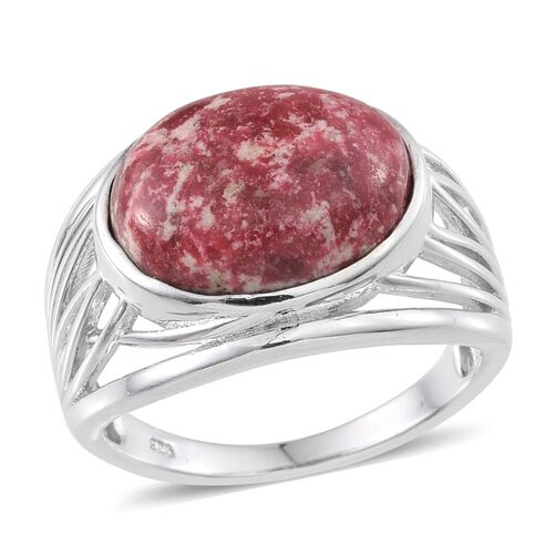 Norwegian Thulite (Ovl) Solitaire Ring in Platinum Overlay Sterling Silver 9.500 Ct.