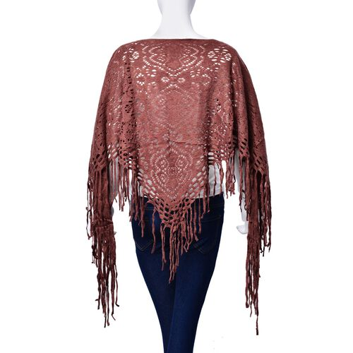 Dark Chocolate Colour Floral Pattern Poncho with Tassel (Size 55 Cm)