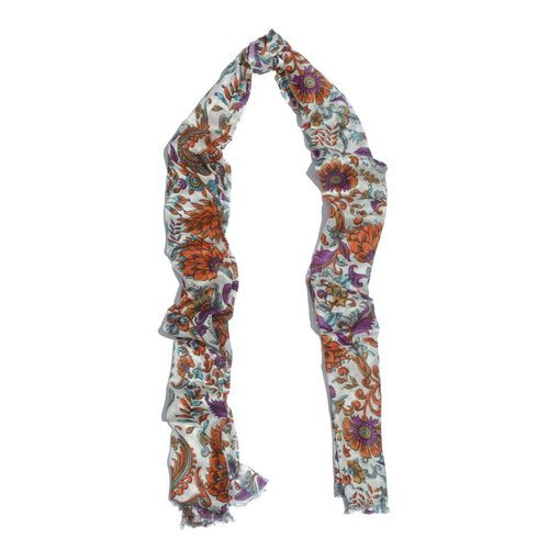 Hand Screen Printed Orange and Multi Colour Floral Printed Scarf (Size 180x55 Cm)