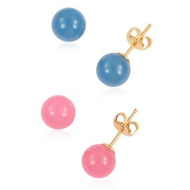 Set of 2 - Blue and Pink Jade (Rnd 8MM) Earrings (with Push Back) in Yellow Gold Overlay Sterling Silver 17.960 Ct.