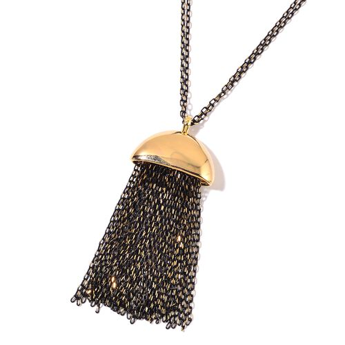 Tassel Necklace (Size 32) in Yellow and Black Tone