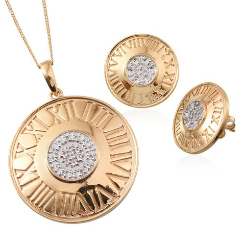 White Topaz (Rnd) Roman Number Inspired Pendant With Chain and Stud Earrings (with Push Back) in 14K Gold Overlay Sterling Silver