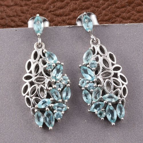 Paraiba Apatite (Mrq) Earrings (with Push Back) in Platinum Overlay Sterling Silver 2.500 Ct.