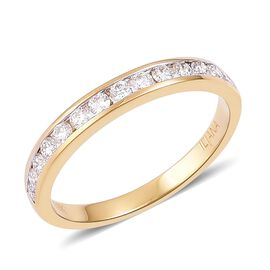 ILIANA 18K Yellow Gold 0.50 Ct Diamond Half Eternity Band Ring IGI Certified (SI/G-H)