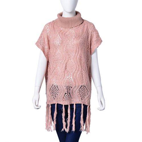 Winter Special - Pink Colour Wavy Pattern High Neck Design Knitted Vest with Tassels (Size 70x60 Cm)