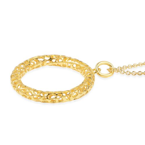 RACHEL GALLEY Yellow Gold Overlay Sterling Silver Lattice Circle Pendant With Chain (Size 30), Silver wt. 12.28 Gms.