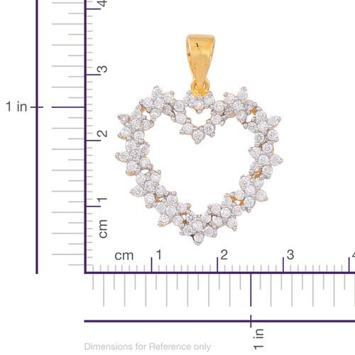 Signature Collection-ELANZA AAA Simulated White Diamond (Rnd) Heart Pendant in 14K Gold Overlay Sterling Silver