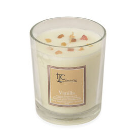 Vanilla Scented Glass Candle with Rare Imperial Topaz Gemstone (20 CTs)