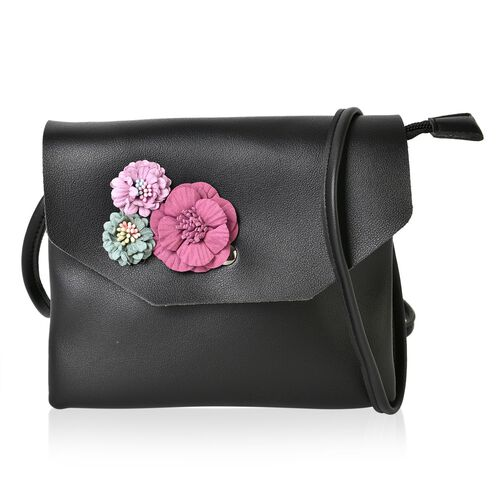 Black and Multi Colour 3D Flower Adorned Crossbody Bag (Size 19X17 Cm)